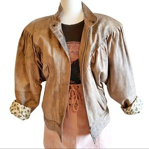 Vintage 80's tan leather wash batwing jacket